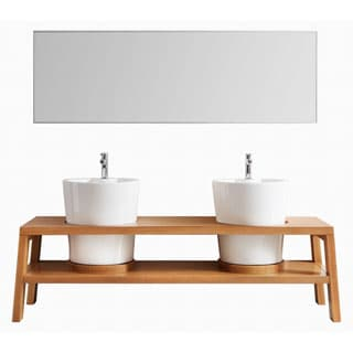 Vinnova lecce 79-inch American Red Oak Double Vanity with White Vessel Sink, and Mirror