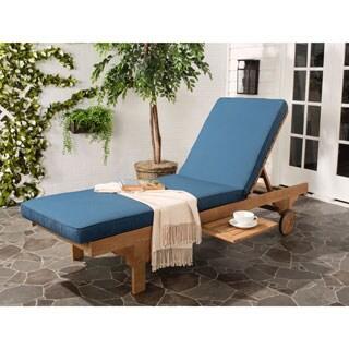 Safavieh Outdoor Living Newport Teak Brown/ Navy Adjustable Chaise Lounge Chair