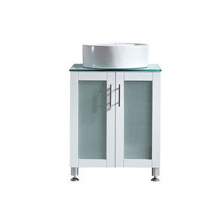 Vinnova Tuscany 24-inch Single White Mirrorless Vanity with White Vessel Sink, and Glass Countertop
