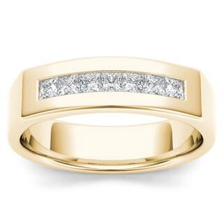 De Couer 14k Yellow Gold 1/2ct TDW Diamond Men's Wedding Band (H-I, I2)