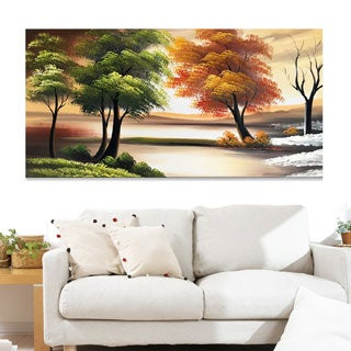 Design Art 'Changing Seasons on the Lake' 40 x 20 Canvas Art Print