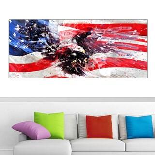 Design Art 'American Eagle and Flag' Car 40 x 20 Canvas Art