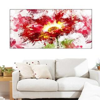 Design Art 'Red Abstract Sunflower' 40 x 20 Canvas Art Print