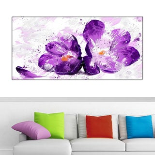 Design Art 'Blooming Purple Flower' 40 x 20 Canvas Art Print