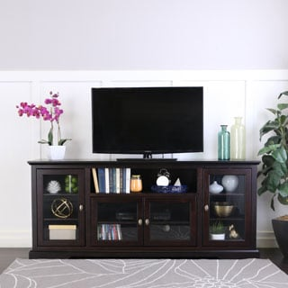 "70"" Espresso Wood Highboy Style TV Stand"
