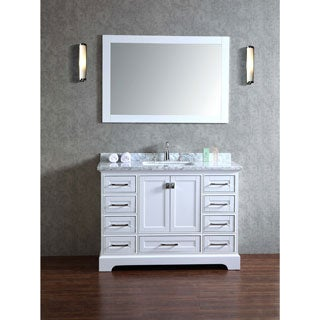 Stufurhome White 48-inch Single Sink Bathroom Vanity Set