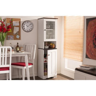 Lauren Modern and Contemporary Two-tone White and Dark Brown Buffet and Hutch Kitchen Cabinet