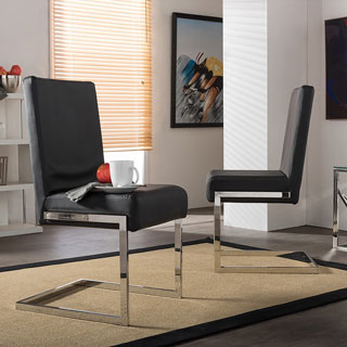 Set of 2 Greer Contemporary Black PU Leather Upholstered Armless Dining Chairs With Stainless Steel Base