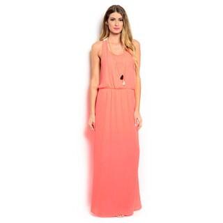 Shop the Trends Women's Crochet Lace Back Sleeveless Maxi Dress with Blouson Waist