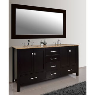 Stufurhome Malibu 72-inch Espresso Double Sink Bathroom Vanity Set with Mirror