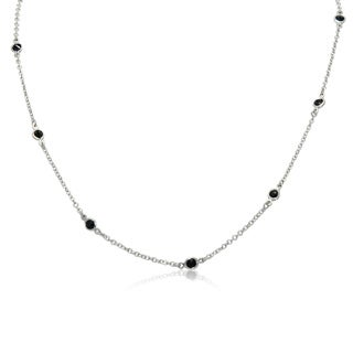 Gioelli Sterling Silver Sapphire Station Necklace