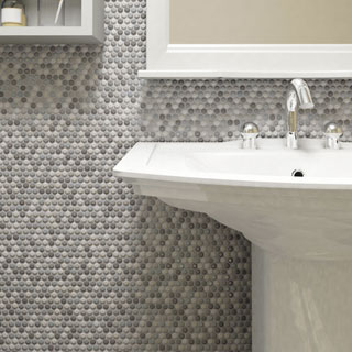 SomerTile 11.25 x 11.75-inch Andromeda Penny Round Luna Porcelain Mosaic Wall Tile (Pack of 10)