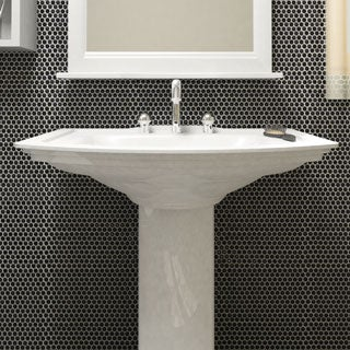 SomerTile 11.25 x 11.75-inch Andromeda Penny Round Black Porcelain Mosaic Wall Tile (Pack of 10)