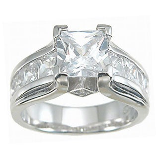 Rhodium Finish Sterling Silver Cubic Zirconia Antique-style Engagement Ring Set