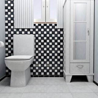SomerTile 12.5x12.5 Knight Matte Black/ White Checkerboard Porcelain Floor and Wall Tile (Case of 10)