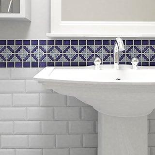 SomerTile 12x12.5-inch Obelisk Cobalt Delta Porcelain Mosaic Floor and Wall Tile (Case of 10)