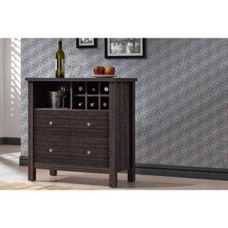 Dakota Modern and Contemporary Dark Espresso Brown Wood Wine Bar Cabinet