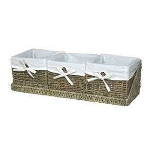 Seagrass Shelf Basket with Tray (Set of 3)