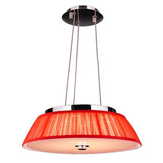 Euro Style 6-light Chrome Finish LED with Red String Shade Modern Pendant Light