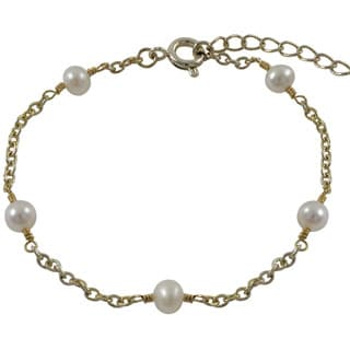 Gold Finish Children's Freshwater Pearl Link Bracelet