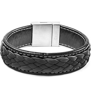 Crucible Black and Charcoal Stainless Steel Braided Leather Bracelet