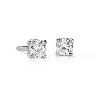 Suzy Levian 14K Gold 1/4ct TDW Classic Four Prong Diamond Stud Earrings (G-H, SI2-SI3)