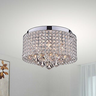 Nerisa 4-light Chrome and Crystal Drum Shade Flush Mount Chandelier
