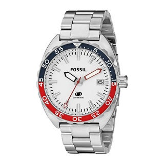Fossil Men's Breaker Red, White, Blue Dial Silver Stainless Steel Watch FS5049