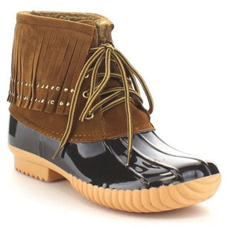 Nature Breeze Duck-03 Women's Lovely Studded Fringe Lace-up Dress Duck Boots