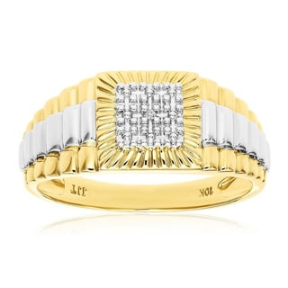 10k Solid Yellow Gold Men's 'Rolex Design' Diamond Step-like Ring