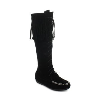CAPE ROBBIN CARMELA-GX-3 Women's Moccasin Lace Up Fringe Knee High Boots
