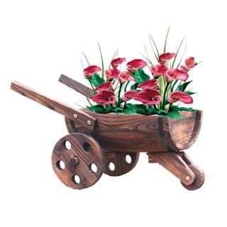 Wooden Wheelbarrow Barrel Planter