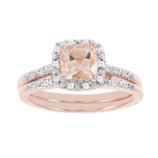 H Star 14k Rose Gold 1/8ct TDW Diamond and Morganite Wedding Set (H-I, I1-I2)