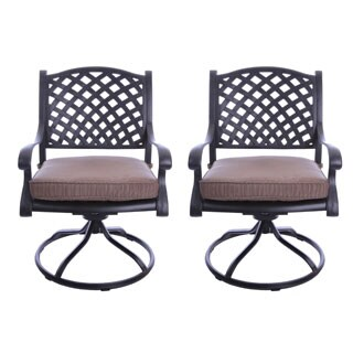 GatherCraft Casa Grande Bronze Outdoor Cast Aluminum Cushioned Swivel Rocker Dining Chair (Set of 2)