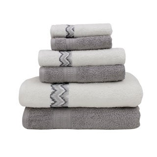 Combed Cotton 6-piece Towel Set with Chevron Border