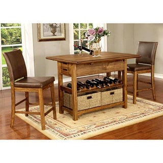Monterey Modern Rustic / Nailhead Trim Counter Height Pub Dining Set with Wine Rack