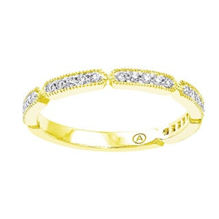 Beverly Hills Charm 10K Gold 1/5ct TDW Diamond Anniversary Stackable Milgrain Band Ring (H-I, I2-I3)