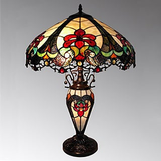 Nicole 3-light Tiffany-style 16-inch Double-lit Table Lamp