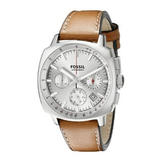 Fossil Men's Haywood Chronograph Silver-Tone Dial Brown Leather Watch CH2985