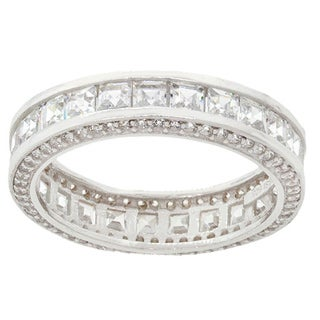 Pori 18k White Goldplated Sterling Silver Princess-cut Inside-out Cubic Zirconia Eternity Band