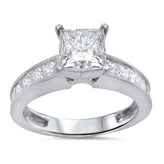Noori 14k White Gold 1 3/5 ct TDW Princess Clarity Enhanced Diamond Ring (G-H, SI1-SI2)