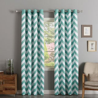 Aurora Home Chevron Print Room Darkening Grommet Top Curtain Panel Pair