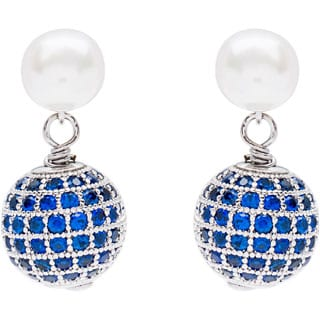 DaVonna Sterling Silver White Pearl and Cubic Zirconia Ball Earring