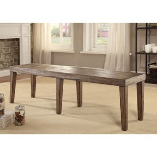 Furniture of America Bailey Rustic Weathered Elm Dining Bench