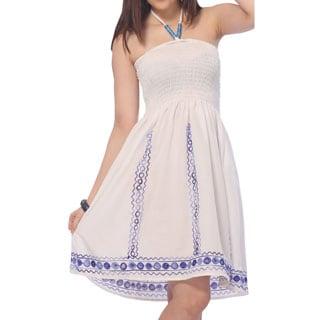 La Leela One size One Ari Work Designer Embroiderd Viscose Short Tube Dress Blue
