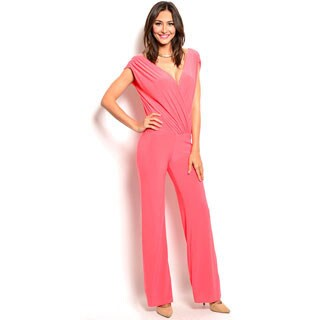 Shop the Trends Women's Sleeveless Jumpsuit with Wrapped Bodice and Plunging Neckline