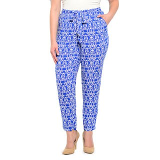 Shop the Trends Women's Plus Size Geometric Print Ankle Trousers with Waist Tie