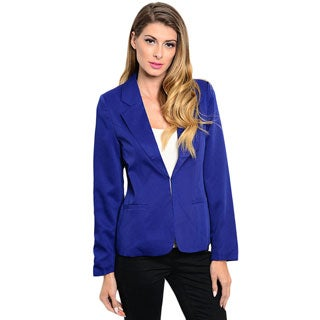 Shop the Trends Women's Long Sleeve Woven Blazer Jacket with Slitted Lapel and Single Hook Closure