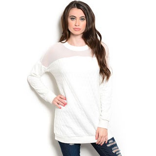 Shop the Trends Women's Long Sleeve Quilted Knit Sweater with Sheer Yoke and Ribbed Hem