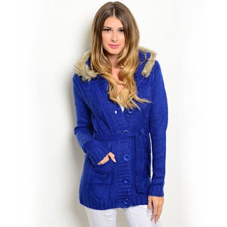 Shop the Trends Women's Long Sleeve Knit Sweater with Button Front Closure and Fur Trimmed Hood
